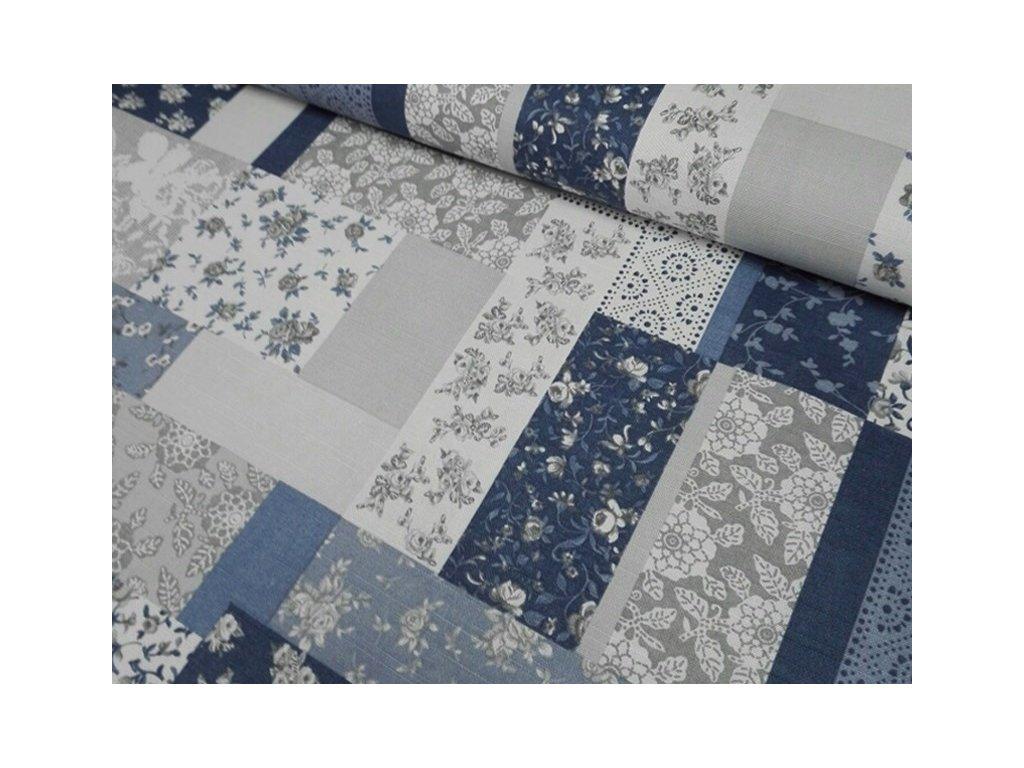 Bavlněná látka patchwork 190g/m2 šíře 140 cm modrá/šedá