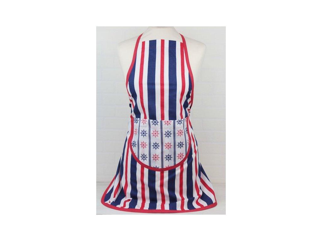 Bavlněná kuchyňská zástěra s kapsou Kormidla 60x75 cm bílá/modrá/červená