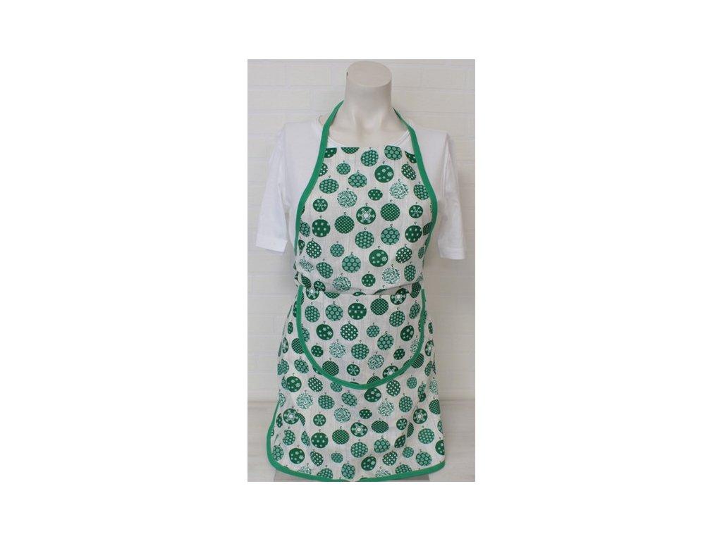 Bavlněná kuchyňská zástěra Ozdoby 60x75 cm zelená/šedá