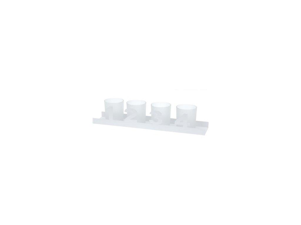 Adventní svícen s čísly  1 2 3 4 rozměr 8x8,5x40 cm bílý