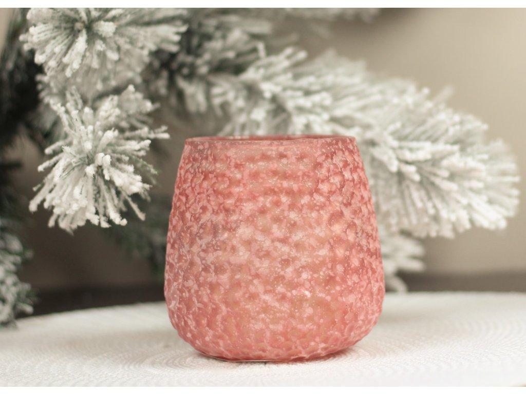 Skleněný svícen YQL2002-13 10x10 cm světle růžový