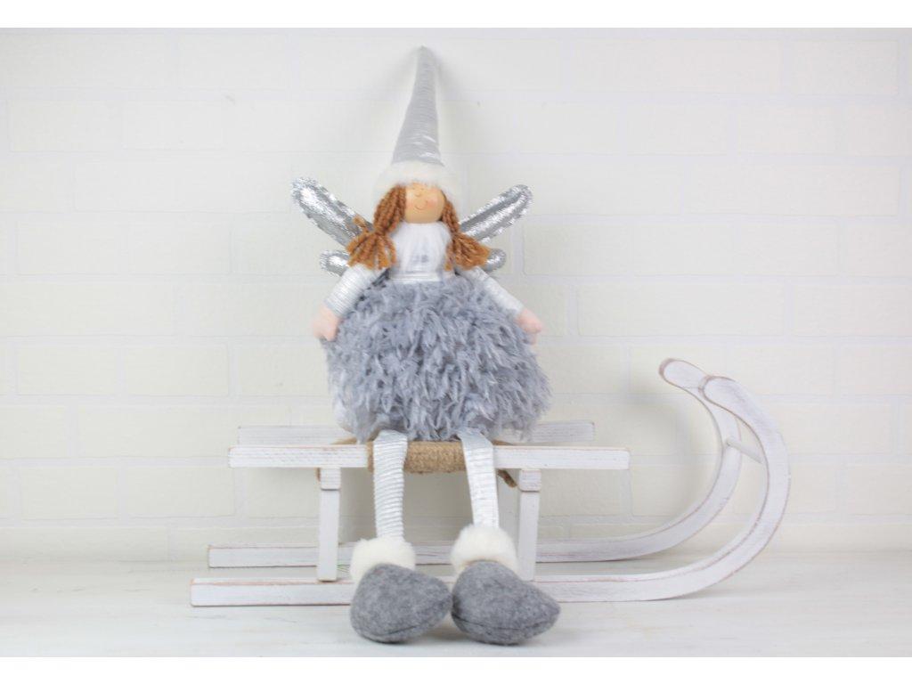 Andělka sedící textilní dekorace vyška 60  cm