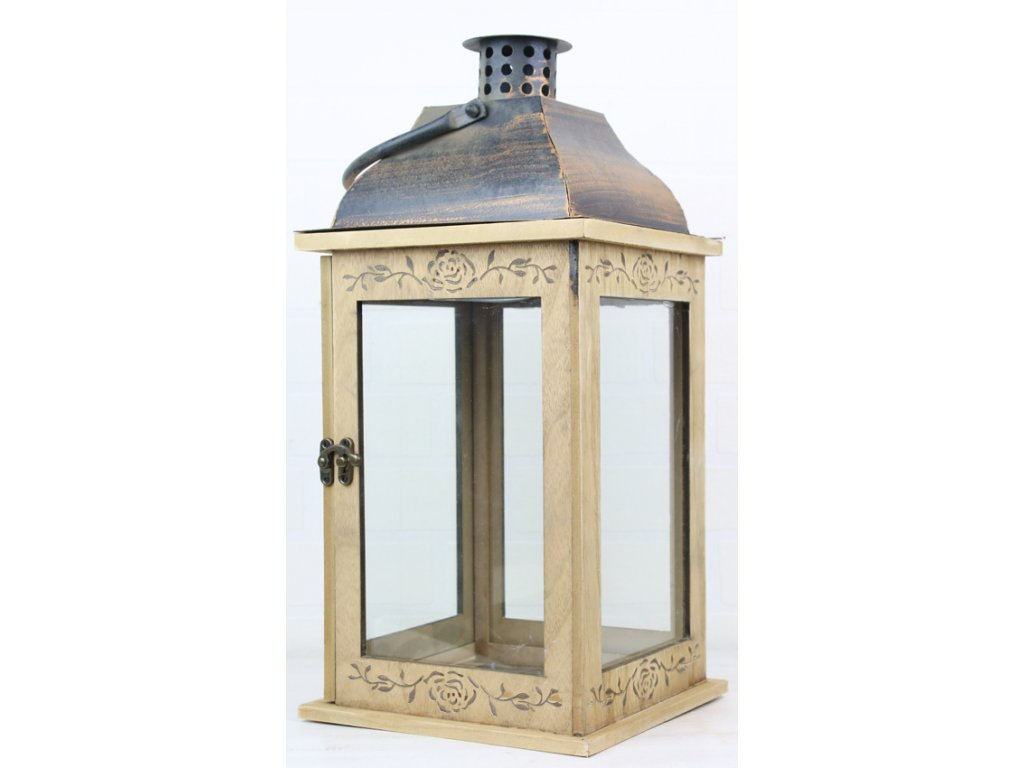 Dřevěná lucerna s kovovou stříškou LUC084 19x19x40 cm