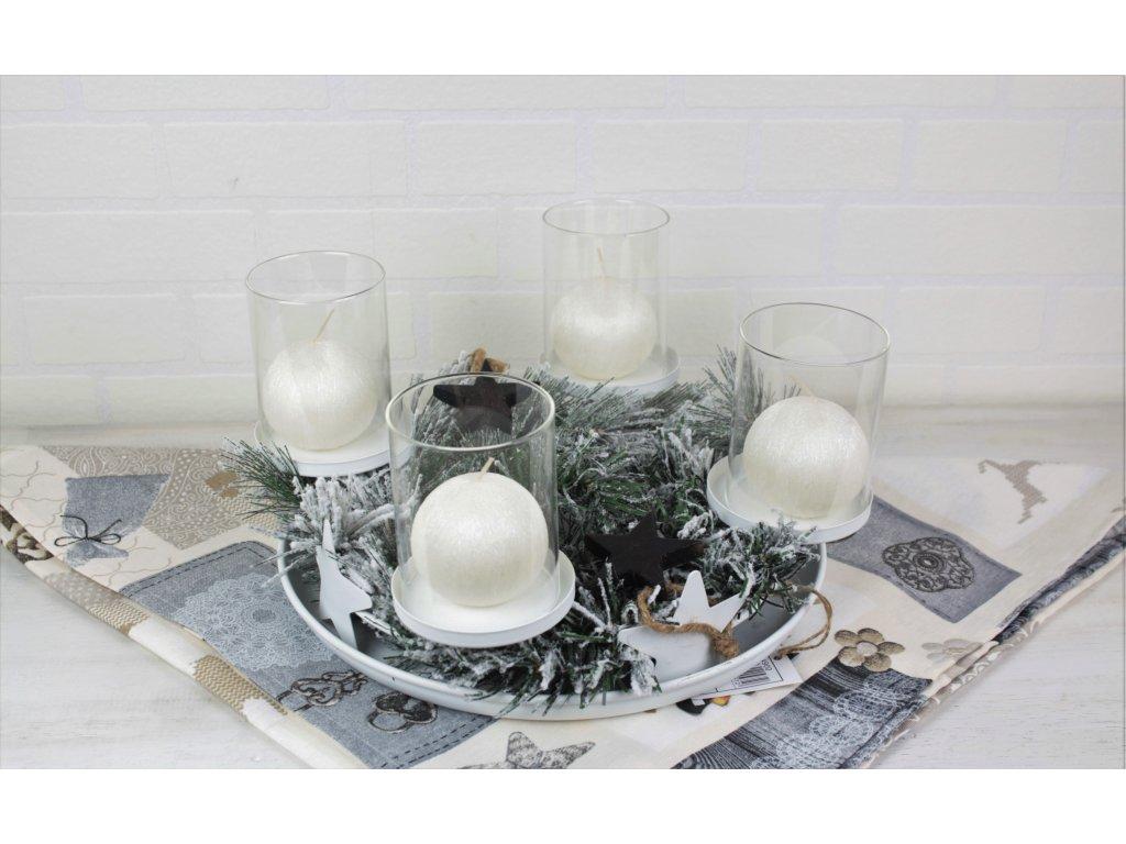 Kovový adventní věnec na 4 svíčky průměr 28 cm bílý