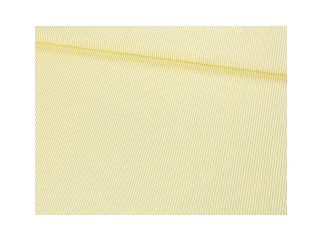 Bavlněná látka pruhovaná šíře 145 cm bílá/žlutá