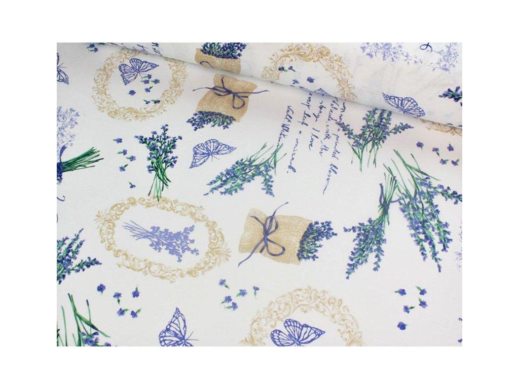 Dekorační látka Levandule šíře 140 cm 170 g/m2 fialová