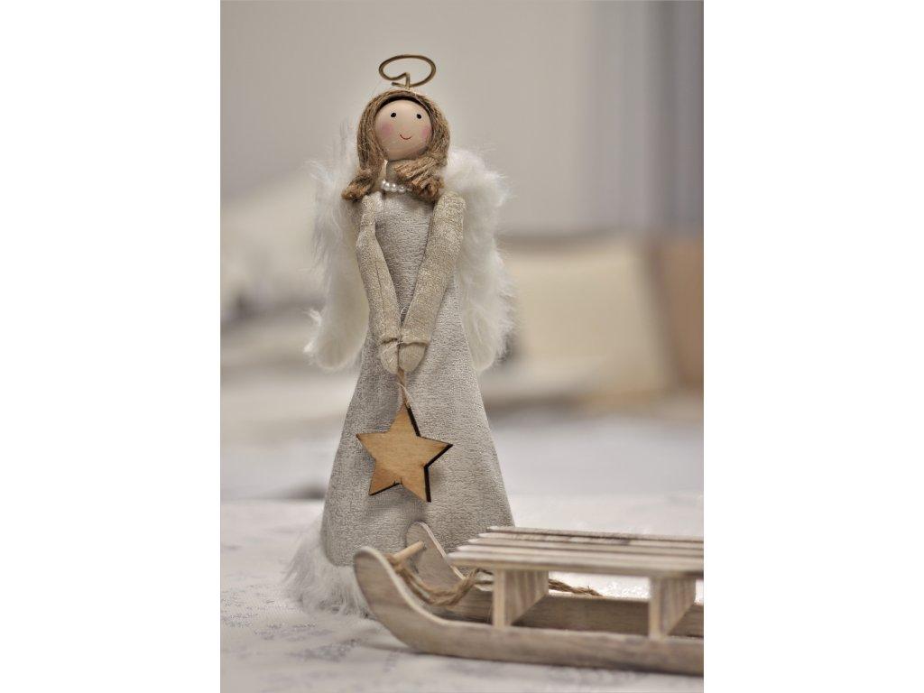 Vánoční dekorace Andělka 30 cm textilní bílá