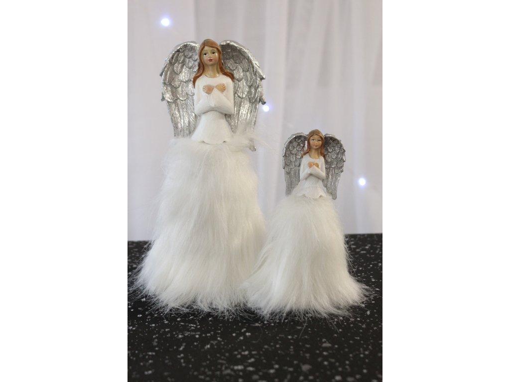 Vánoční Andělka stojící bílá