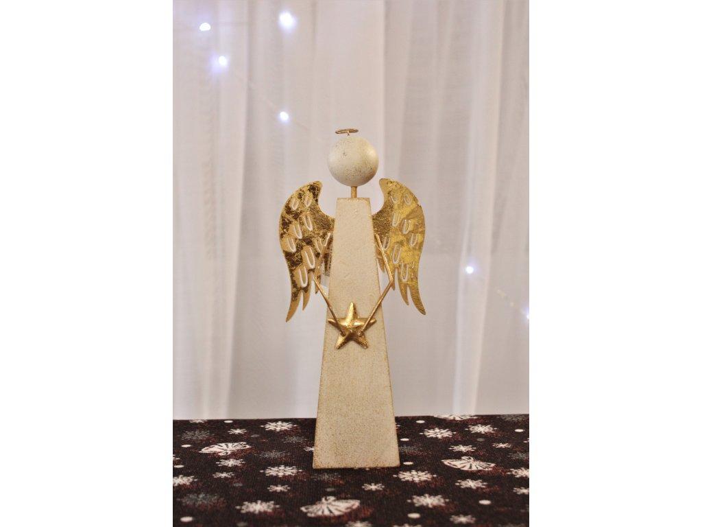 Anděl hranatý se zlatými křídly 5x10x22 cm
