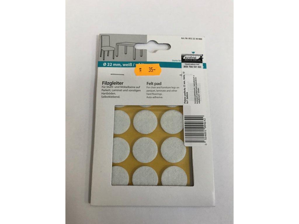 Plstěné podložky 22mm bílá 12ks