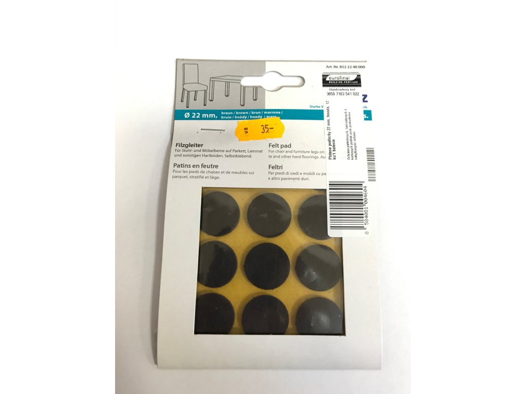 Plstěné podložky 22mm černá 12ks