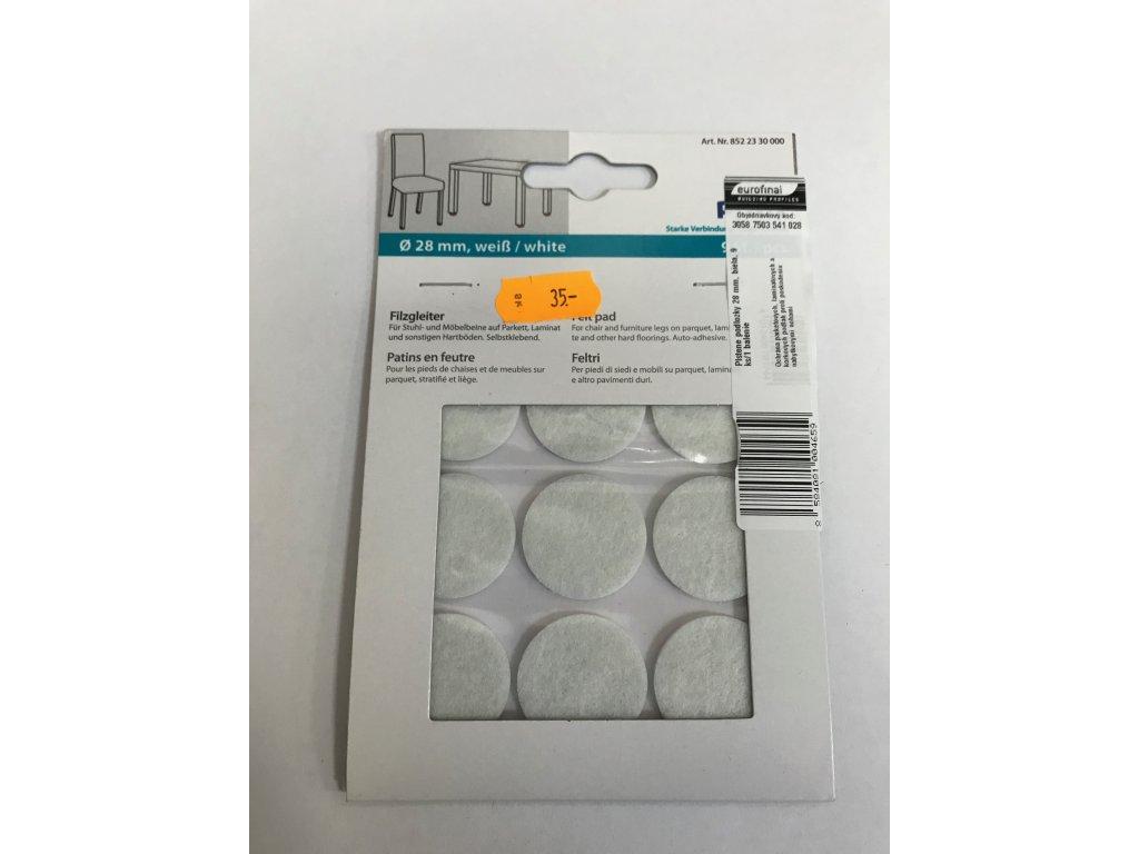 Plstěné podložky 28mm bílá 9ks