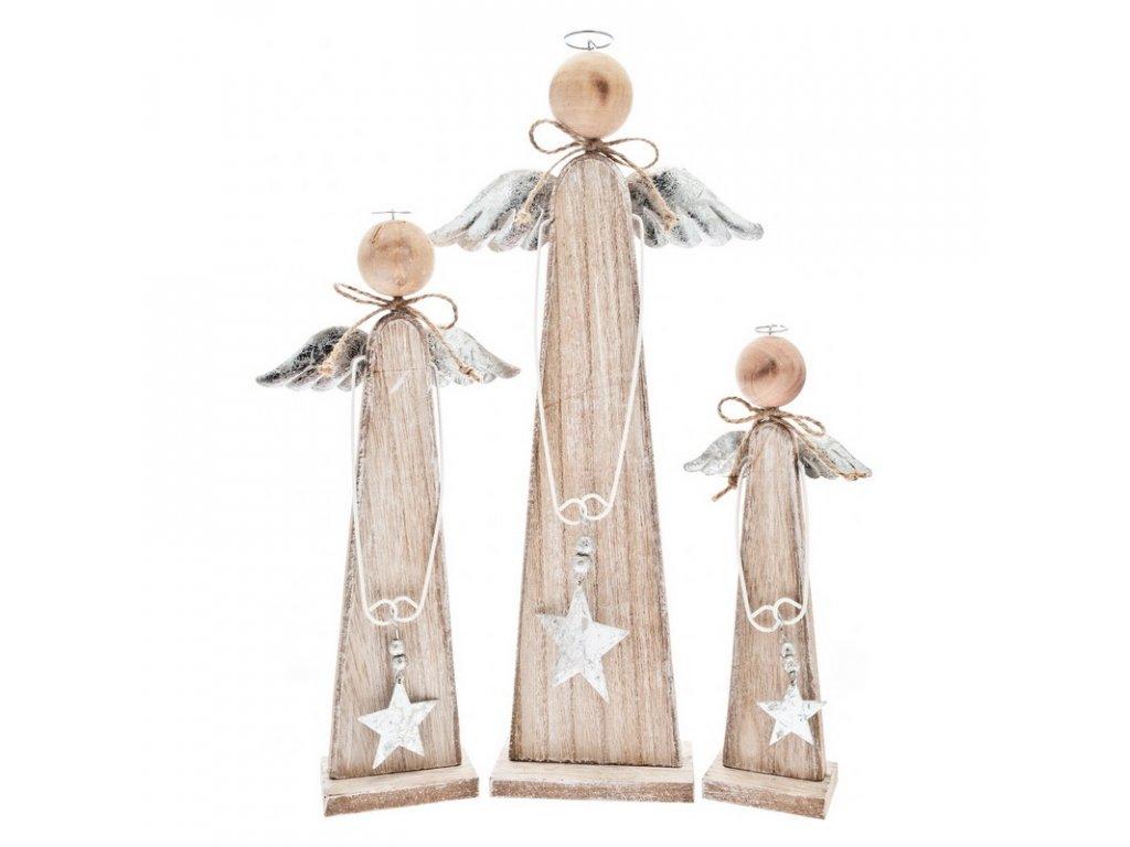 Dřevěný anděl s hvězdou