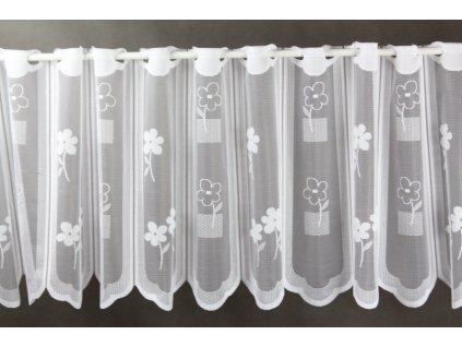 Žakárová záclona s očky na vitrážní tyč bílá