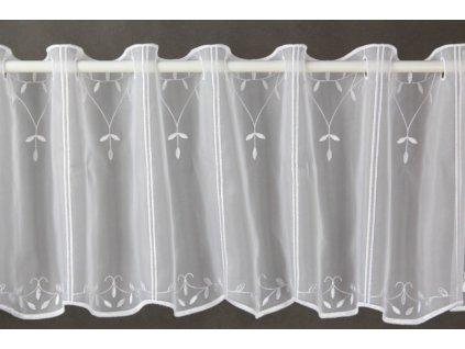 Voálová záclona s výšivkou bílá