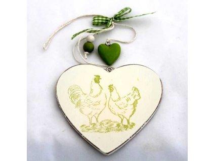 Velikonoční dekorace zelené srdce výška 8 cm|zelené