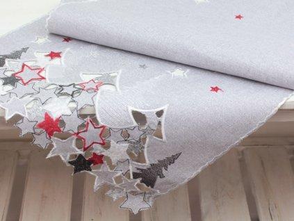 Vánoční ubrus s výšivkou V157 40x140 cm červená/stříbrná/šedá