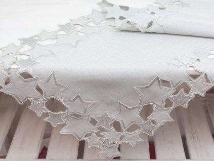 Vánoční ubrus s hvězdičkami V171 40x140 cm béžovošedý