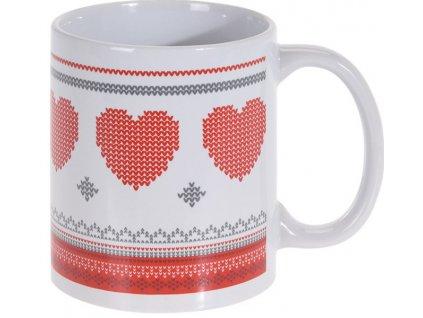 Vánoční hrnek s ouškem obsah 330 ml bílá/červená