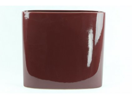 Úzká oválná váza 7x25x26 cm hnědá