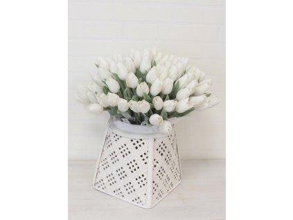 Umělá květina tulipán výška 39 cm bílý