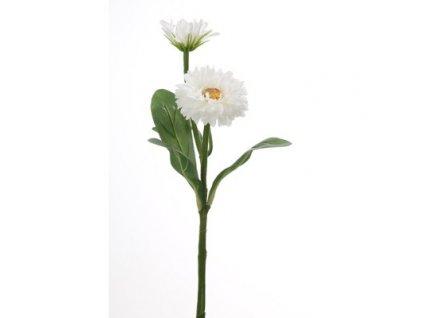 Umělá květina Měsíček Lékařský bílý