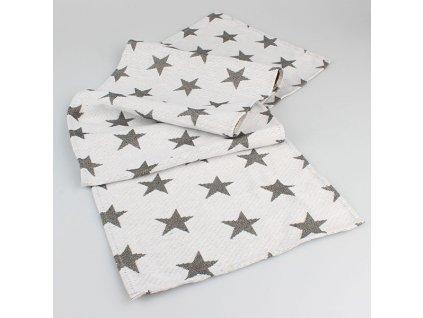 Ubrus-štola GP298 hvězdy 33x135 cm světle šedá/černá
