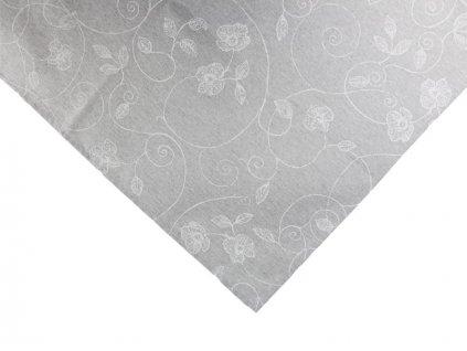 Ubrus s květinovým vzorem 100x140 cm bílá/šedá