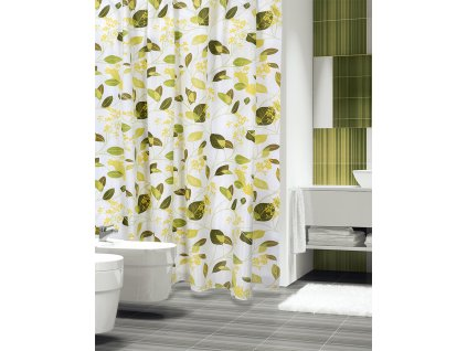 Textilní koupelnový závěs 180x200 cm bílá/zelená