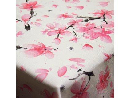 Teflonový ubrus se vzorem Sakura růžová/šedá