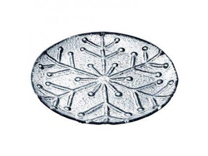 Tácek s motivem vločky 24x24x2,5 cm stříbrný