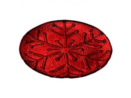 Tác s motivem vločky 23,5x23,5x2 cm červený