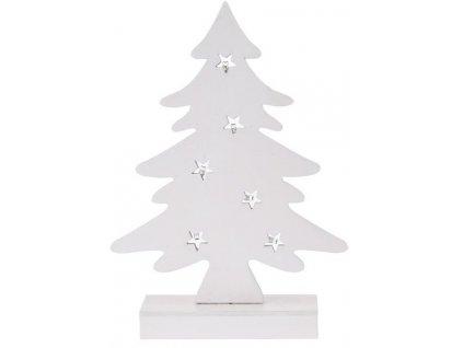 Svítící vánoční stromeček dřevěný 5x27x37 cm bílý