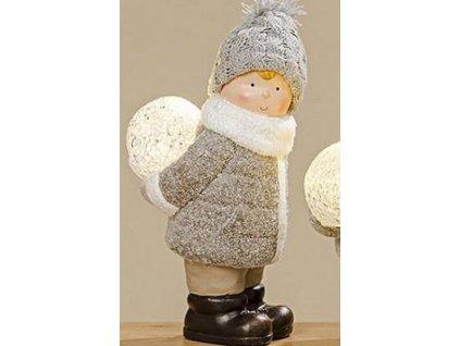 Svítící vánoční postavička Chlapec bílá/šedá