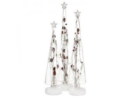 Svítící stromeček skleněný výška 41 cm bílá/červená