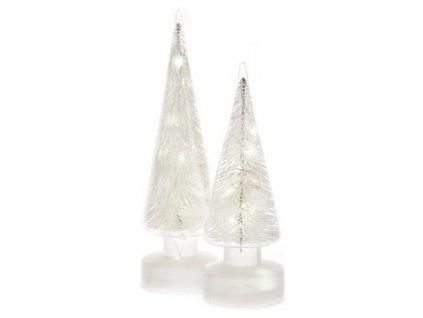Svítící stromeček skleněný 9x9x25 cm 3xAA bílý