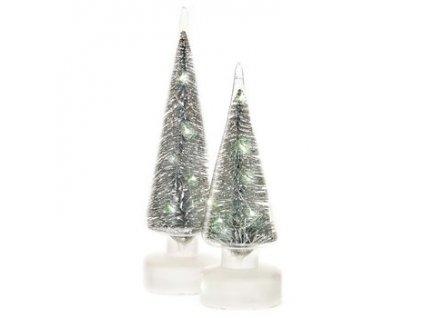 Svítící stromeček skleněný 9x9x25 cm 3xAA bílá/stříbrná