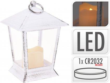 Svítící LED lucerna 12x12x17 cm bílá s patinou