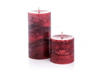 Svíčka válec-skořicová výška 7 cm červená