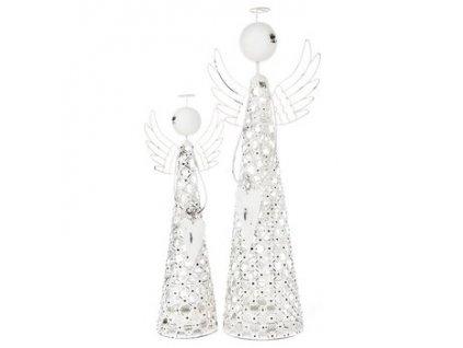 Svícen Anděl na čajovou svíčku kovový 10x10x38 cm bílá patina
