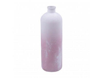 Skleněná váza FROSTED bílo/růžová 33 cm