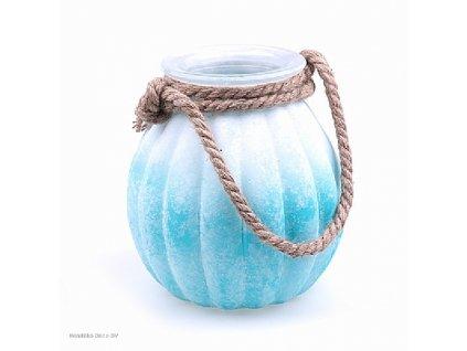 Skleněná váza FROSTED bílo/modrá 21 cm