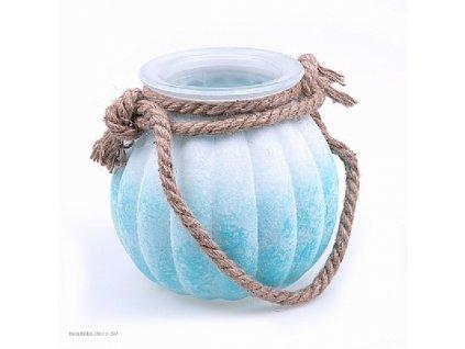 Skleněná váza FROSTED bílo/modrá 18 cm