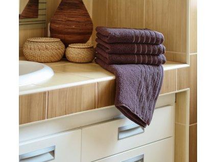 Ručník EMA 50x100 cm 500g/m2 hnědo-fialový