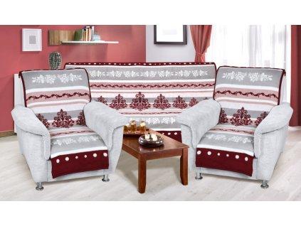 Přehozy na sedací soupravu bordo-šedý ornament 65x150 cm 2 kusy, 150x200 cm 1 kus
