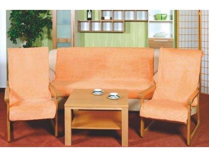 Přehozy na sedací soupravu 2ks 65x150, 1ks 150x200 cm lososová barva 007
