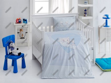 Povlečení do postýlky Matějovský bavlna DELUXE Ovečky modré 40x60, 90x130 cm