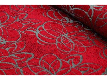 Potahová látka květy šíře 140 cm červená