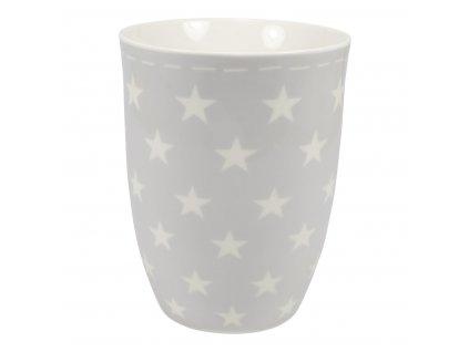 Porcelánový hrnek v šedé barvě s bílými hvězdičkami, 400 ml