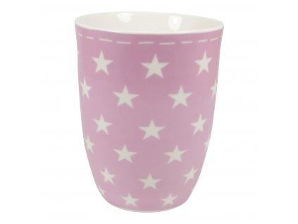 Porcelánový hrnek v růžové barvě s bílými hvězdičkami, 400 ml